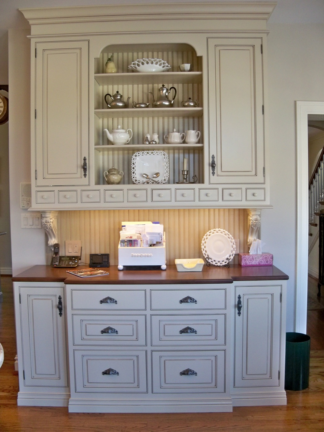 palette for the kitchen is soft neutrals The traditional cabinets