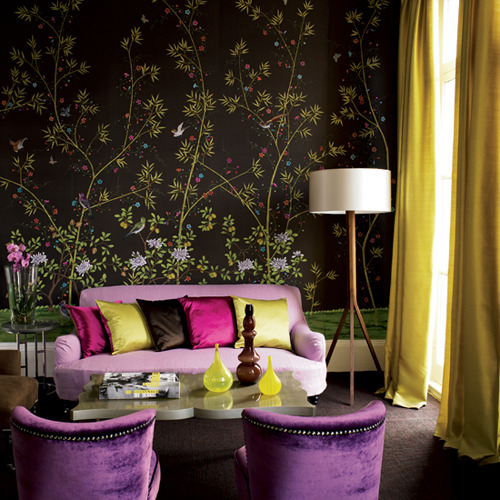 Exotic Living Room Wrapped In Patterned Wallpaper Part 70